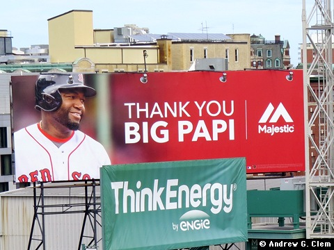 Fenway Park Thank You Big Papi sign closeup