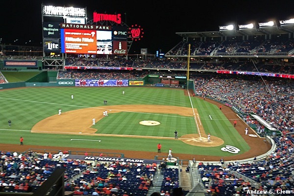 Nationals Park from Club Level, night
