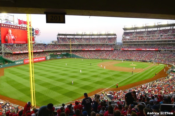 Nationals Park from mezzanine near LF pole