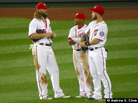 Jayson Werth, Ben Revere, and Bryce Harper, 29 Jun 2016