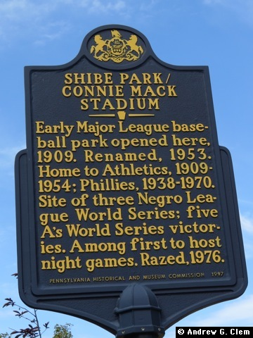 Shibe Park historical sign