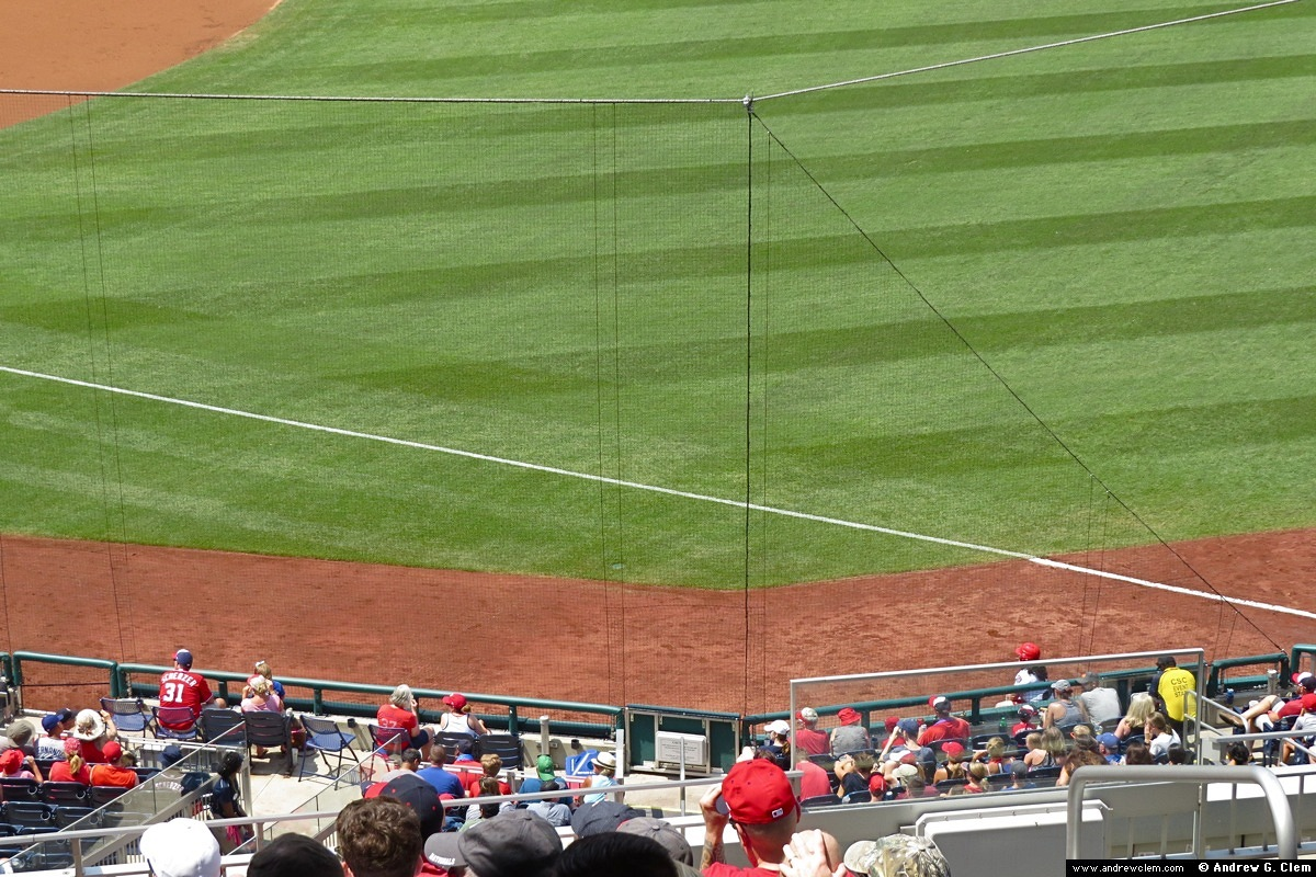 Nationals Park extended net 1st base line