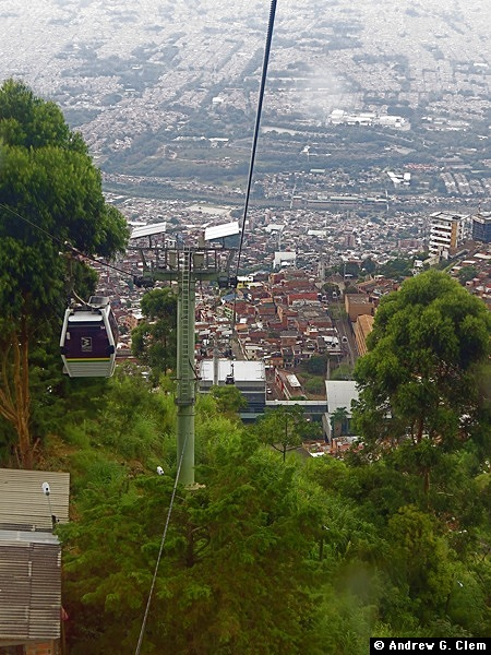 Medellin over city, trees from the Metrocable