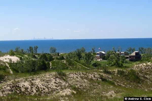 Indiana Dunes visitor center, Chicago skyline