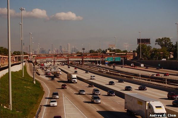 Chicago freeway, skyline