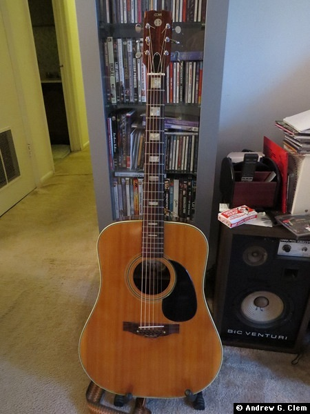 Conn acoustic guitar, CD rack