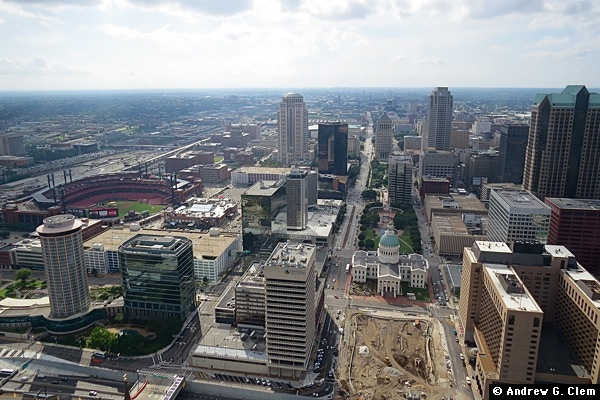 St. Louis downtown from Gateway Arch