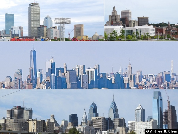 Boston, Providence, Manhattan, Philadelphia