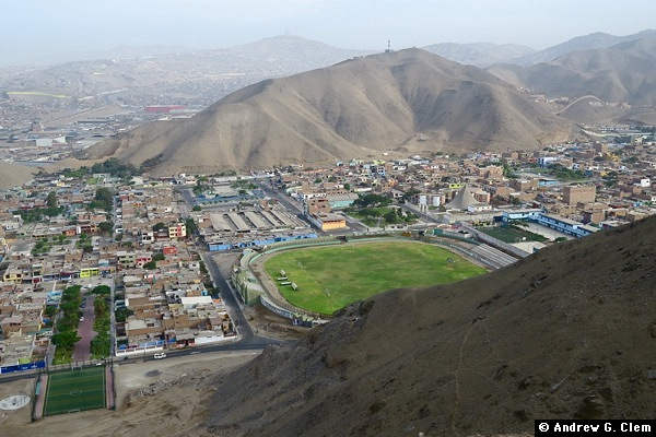 Ventanilla soccer stadium from ridge