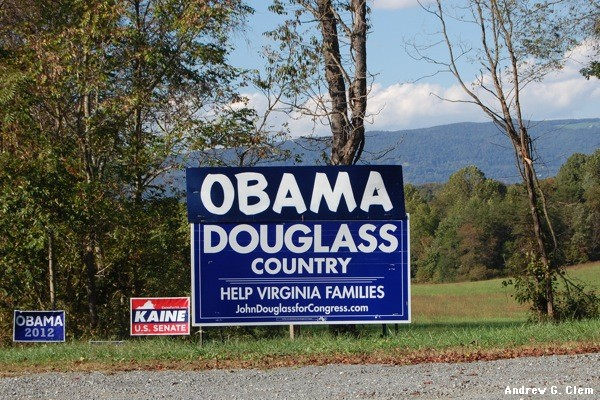 Democrat signs near Afton
