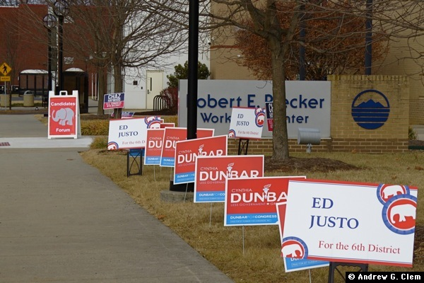 GOP 6th District candidate signs at BRCC