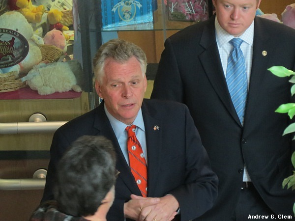 Gov. McAuliffe, aide at Augusta Health