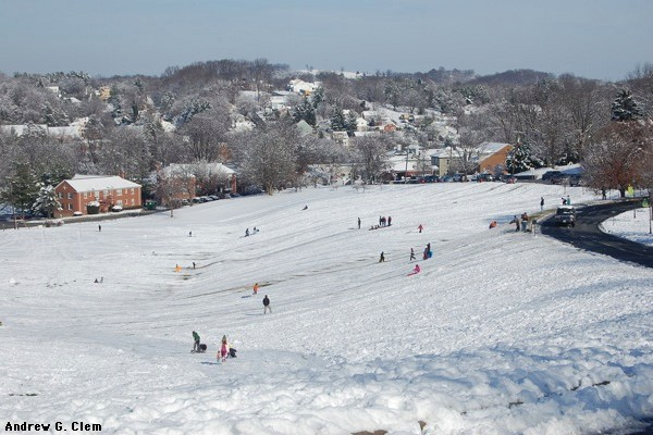 Snow sledding at MBC