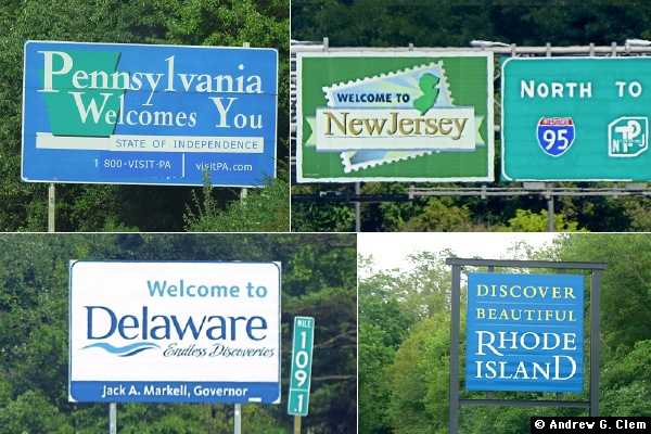 Welcome to Pennsylvania, New Jersey, Delaware, & Rhode Island signs
